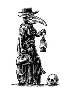 Plague, doctor with bird mask,suitcase, lantern, garlic and hat. Vector black vintage engraving illustration isolated on a white background. For poster and book